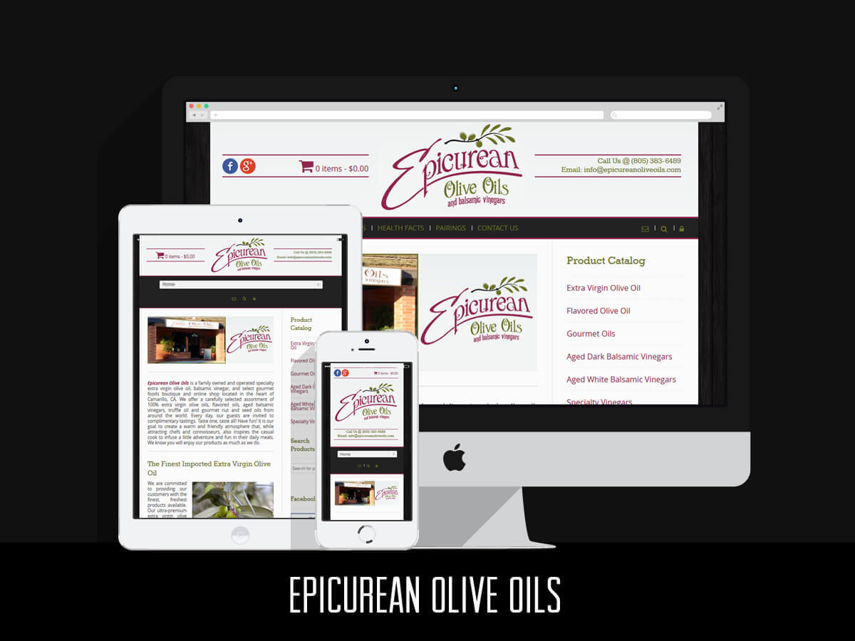 Web Design & eCommerce - Epicurean Olive Oils